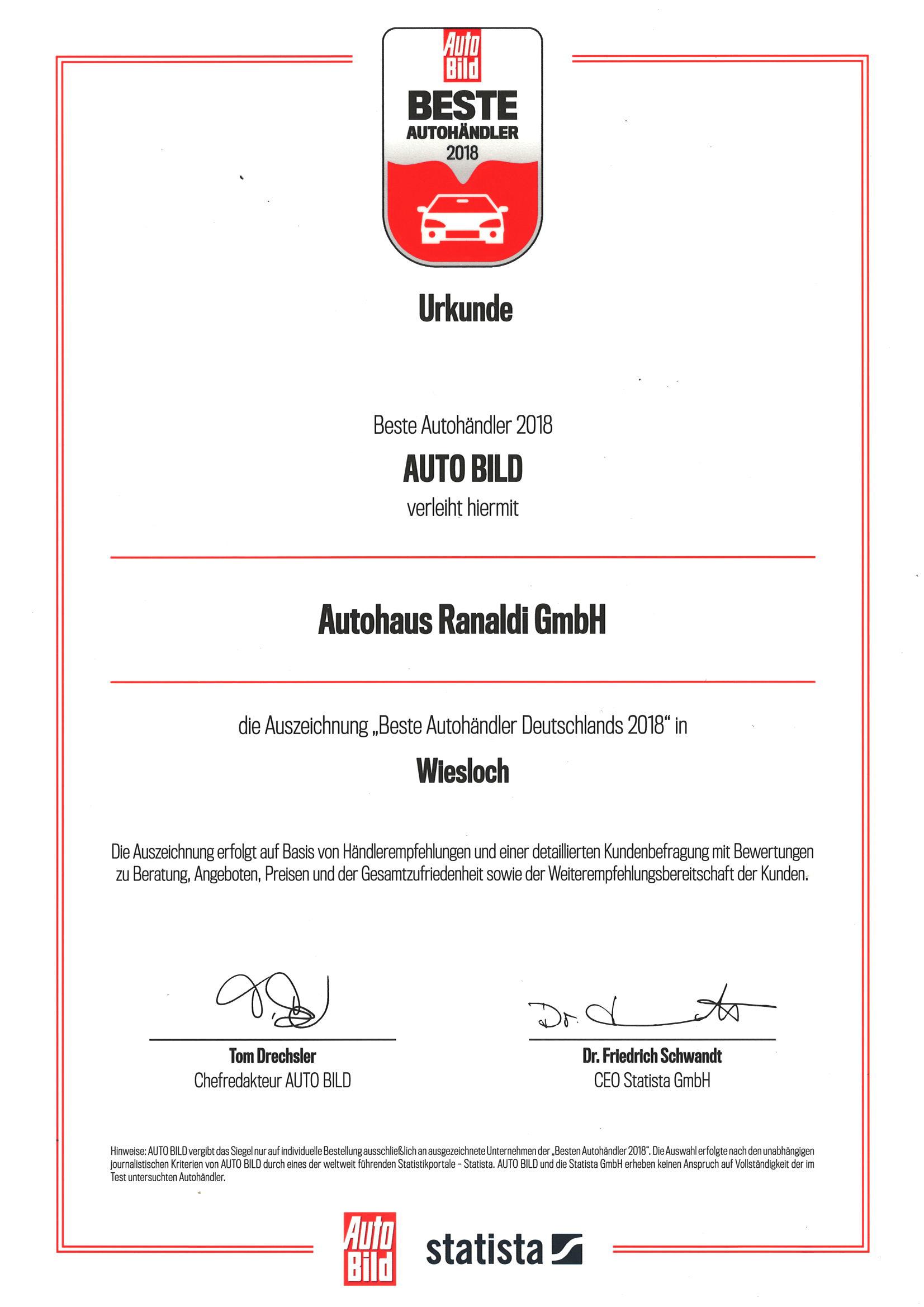 Autohaus Ranaldi unter den besten Autohändlern 2018